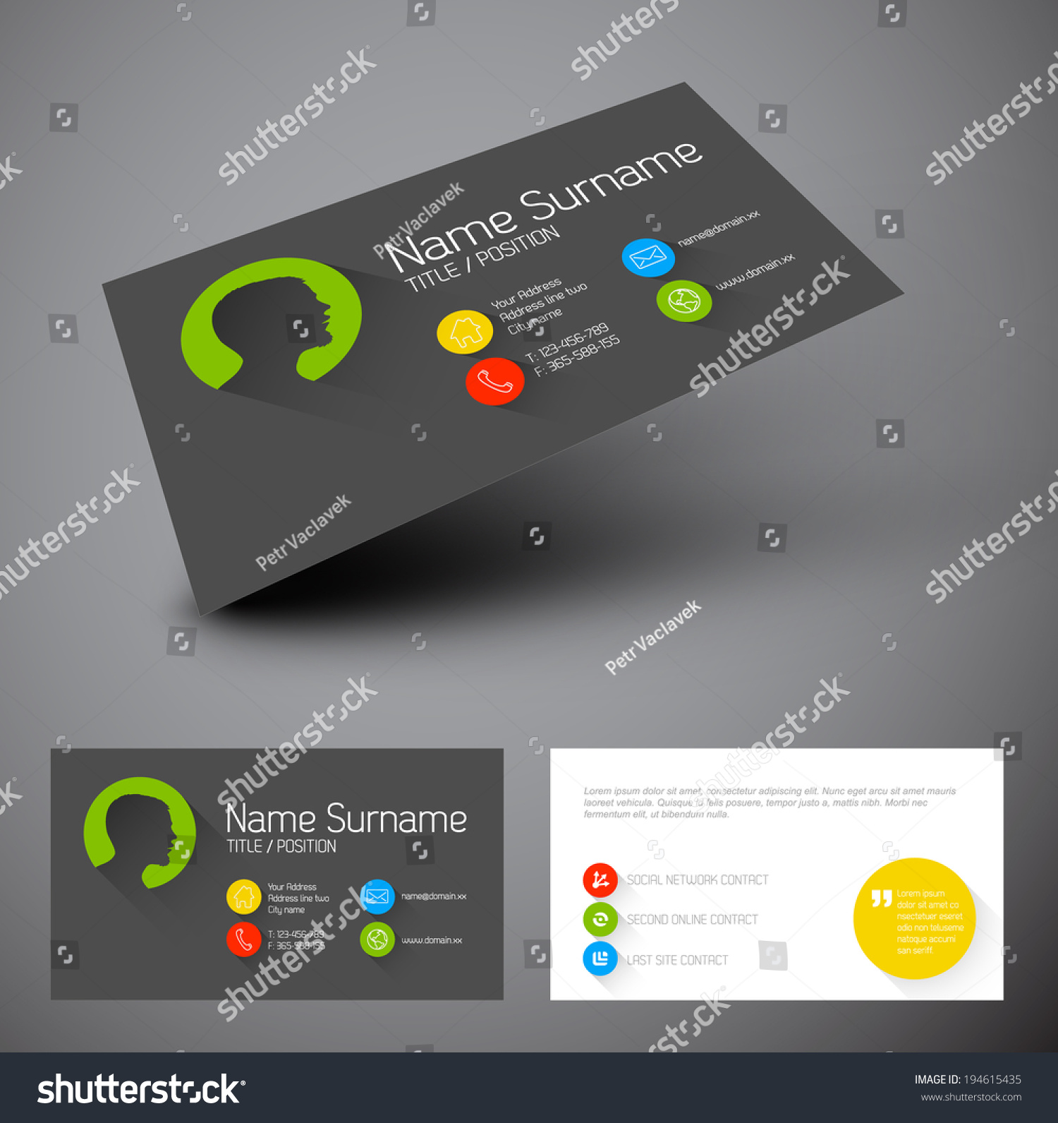 modern simple business card template flat stock vector