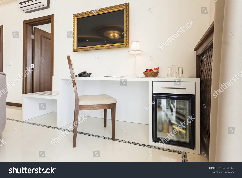Luxury Hotel Room Interior Mini Bar Stock Photo (Royalty Free ...