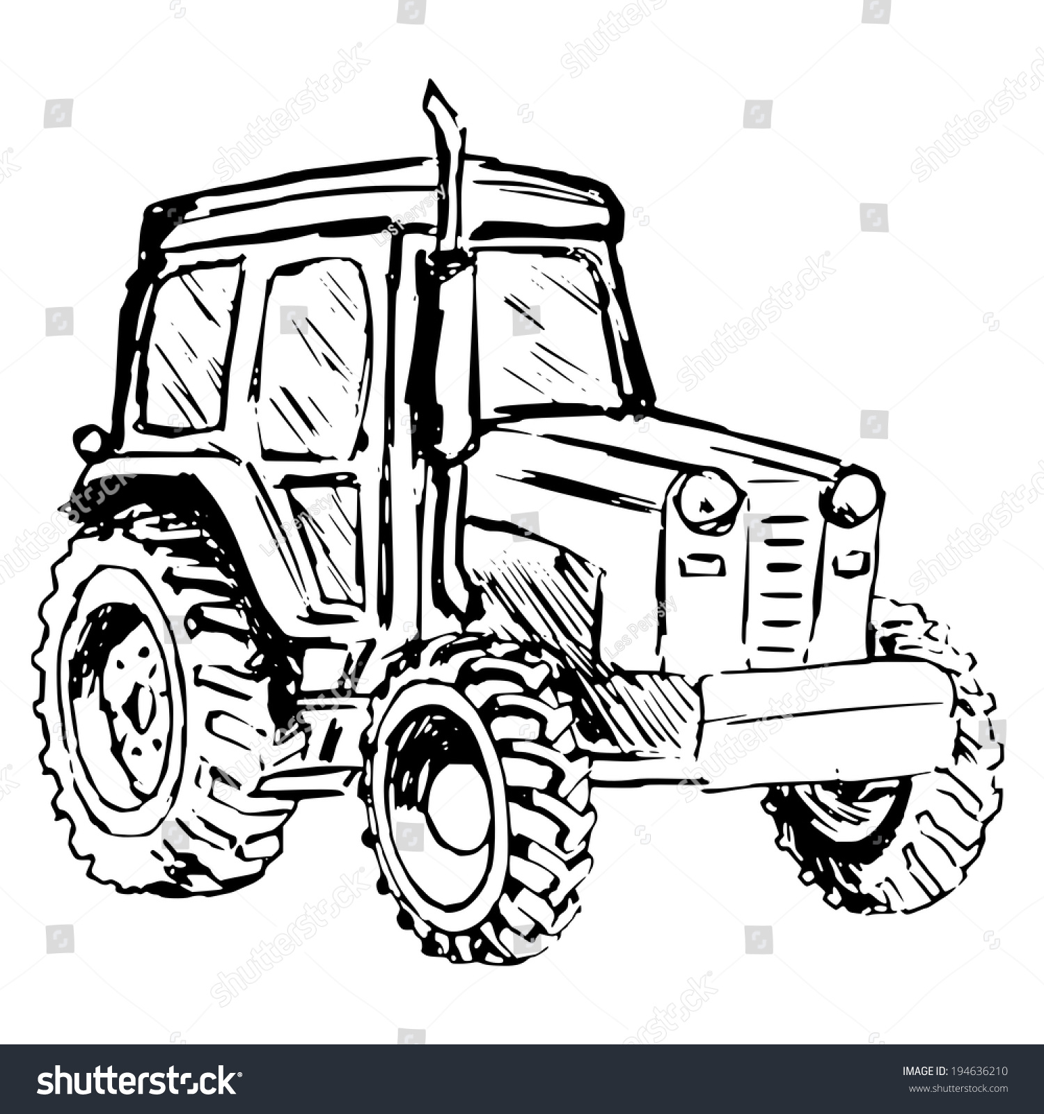 Vintage Tractor Cartoon : Hand drawn cartoon sketch illustration tractor stock