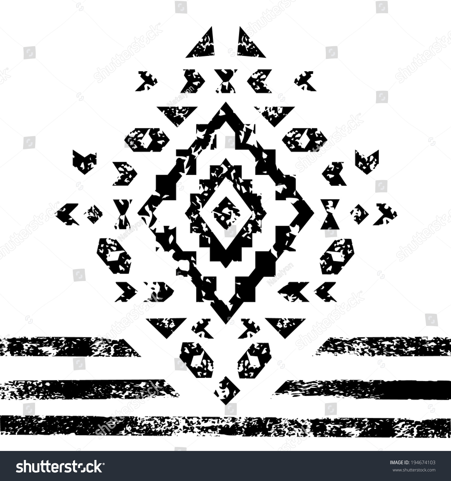 Black and white aged geometric aztec grunge ornament, vector
