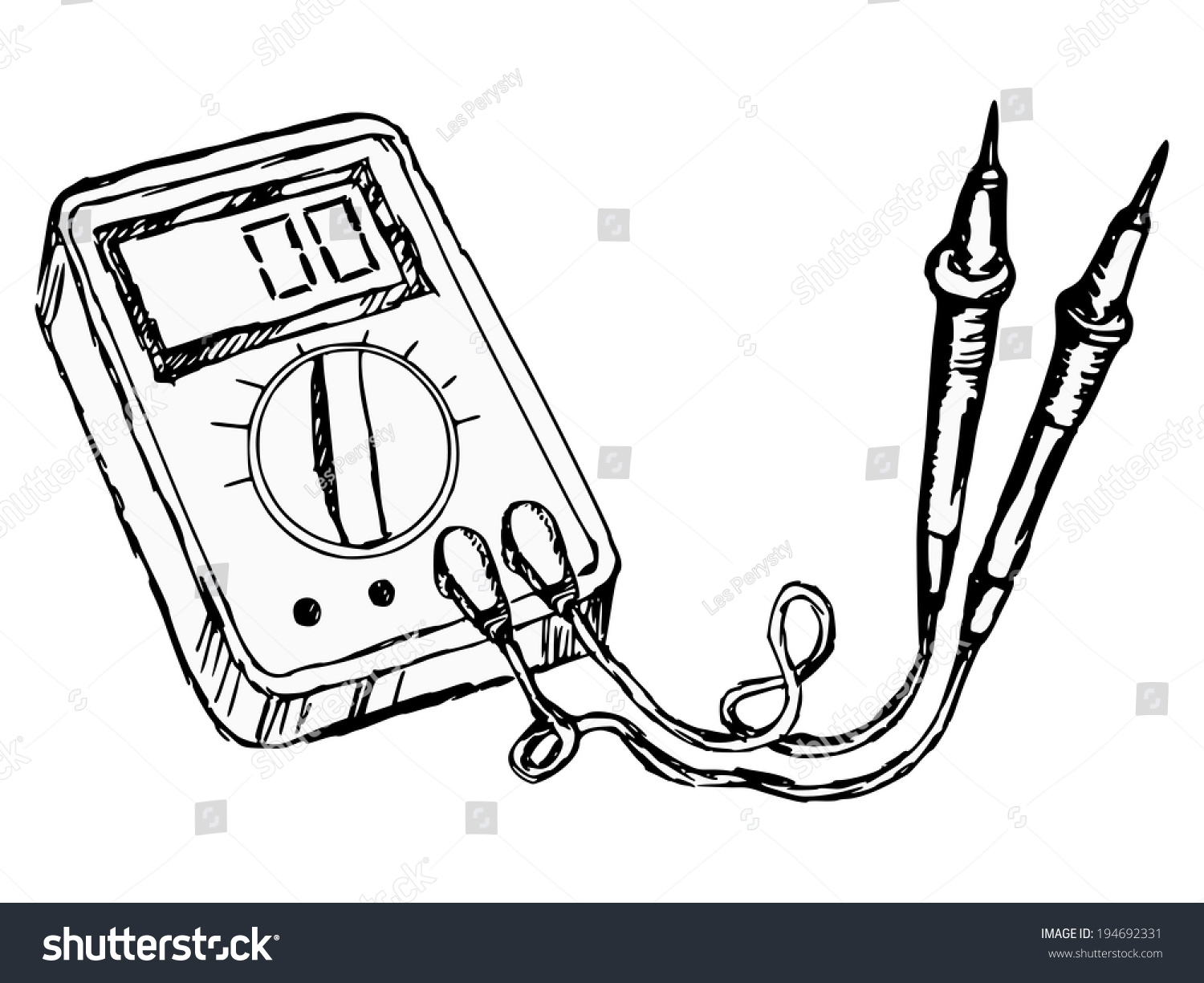 Notebook And Pen Sketch Stock Vector Art More Images Of: Hand Drawn Cartoon Sketch Illustration Multimeter Stock