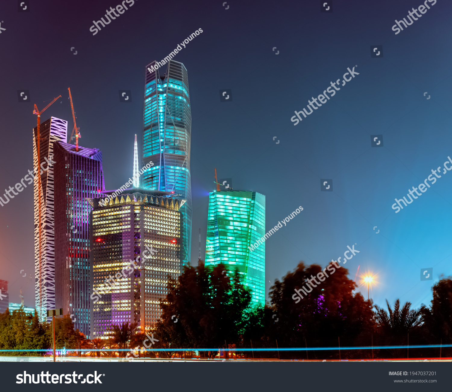 Large buildings equipped with the latest technology, King Abdullah Financial District, in the capital, Riyadh, Saudi Arabia #1947037201