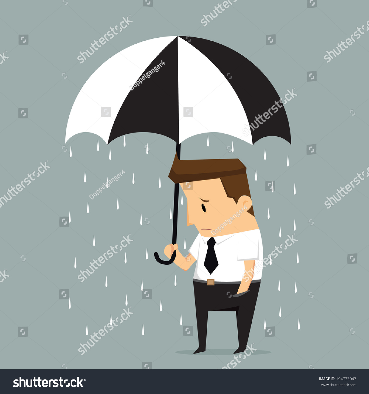unlucky businessman being wet from raining instead he holding umbrella