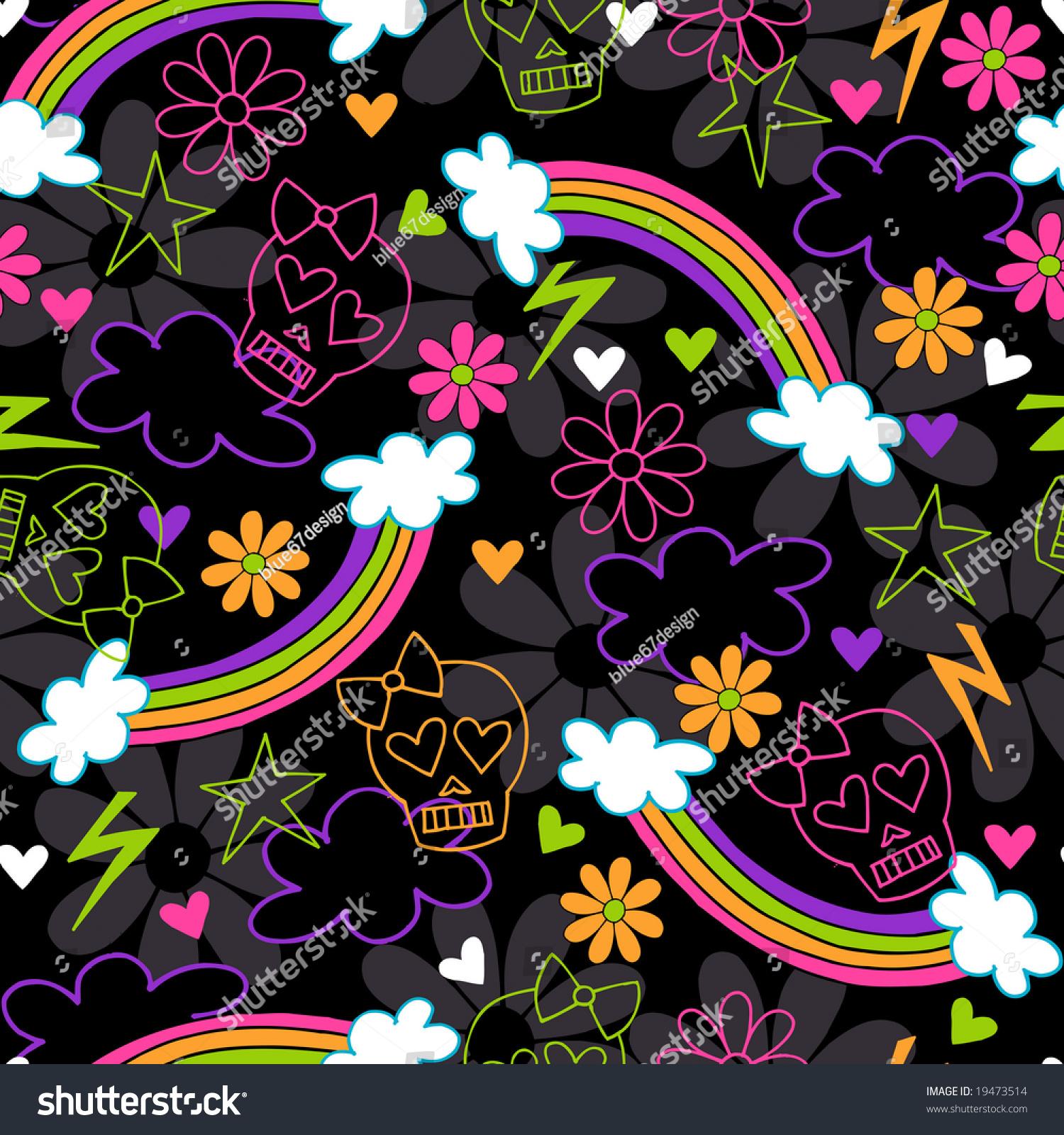 Punk Wallpaper: Girly Punk Skulls Rainbows Seamless Repeat Stock Vector
