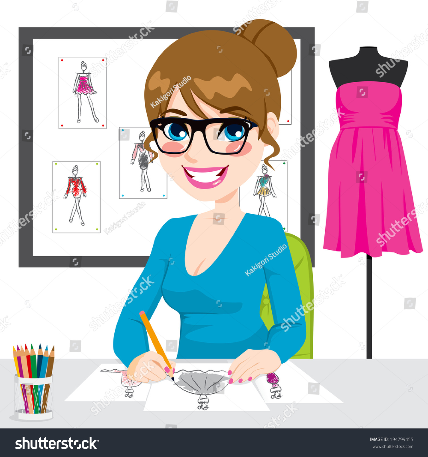 Beautiful Young Fashion Designer Drawing Dress Stock