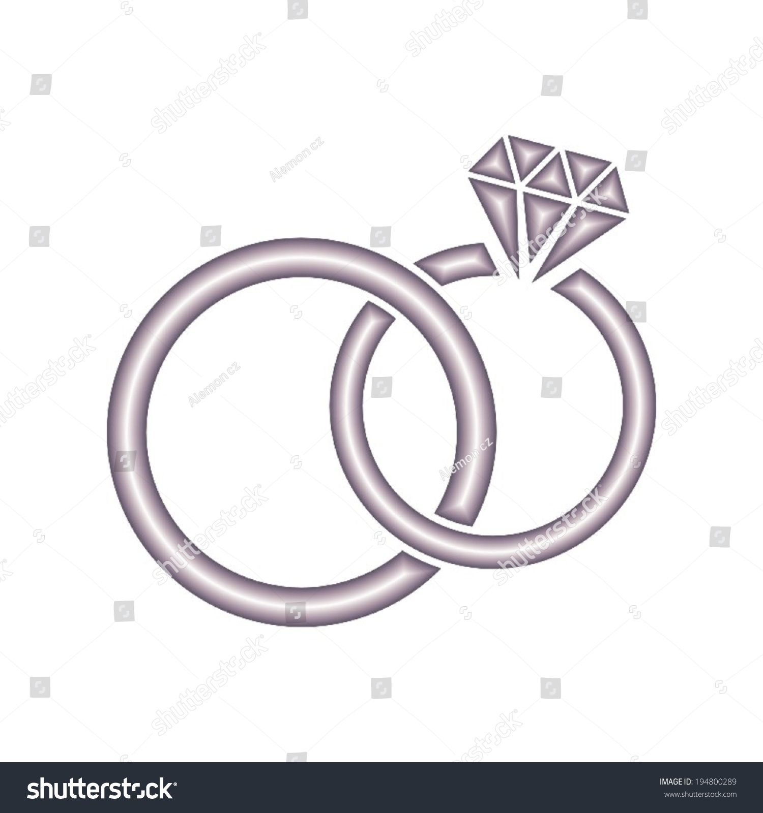 Wedding rings symbol  Vector Wedding Rings Icon On White Stock Vector 194800289 ...