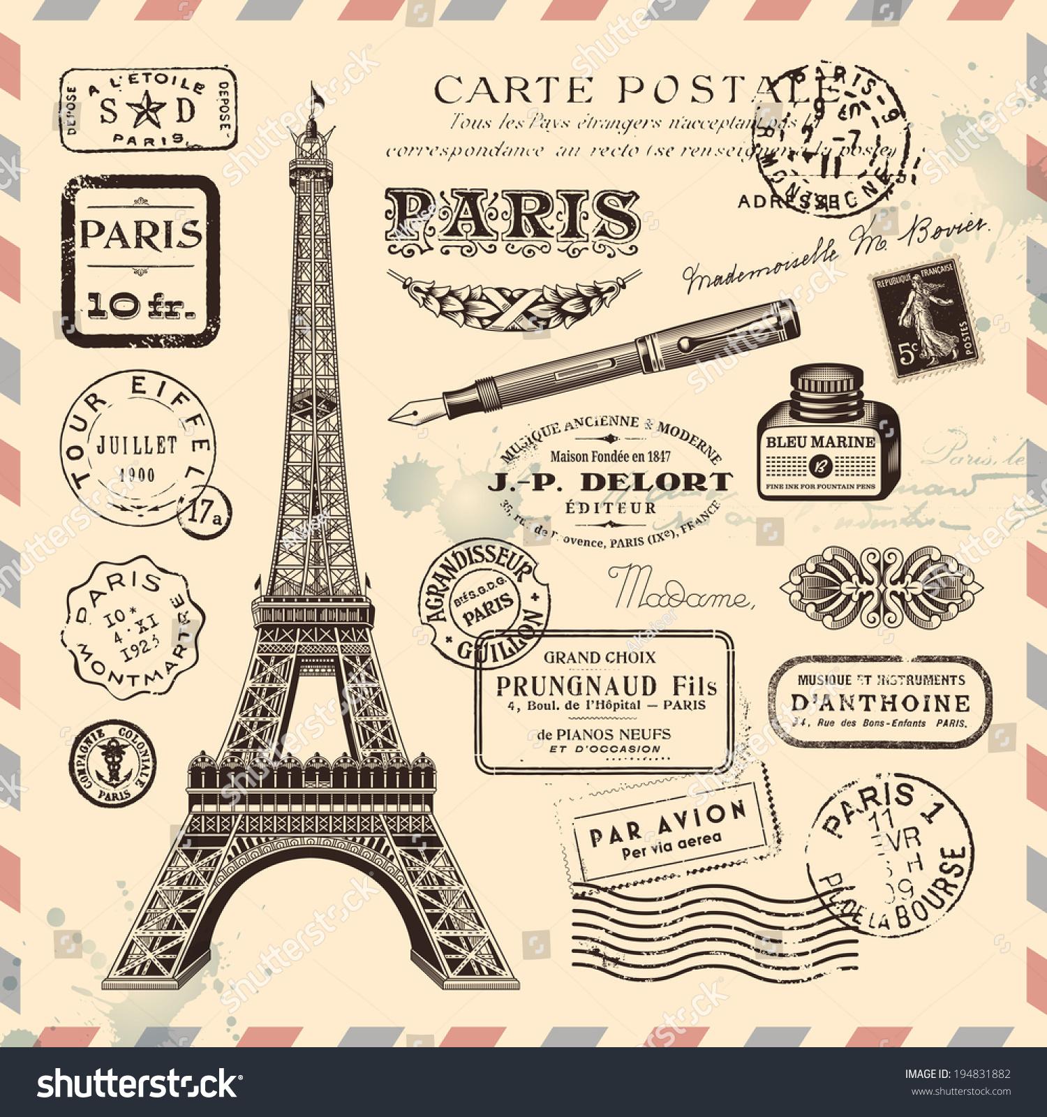Paris postage design elements stock vector illustration for Design paris