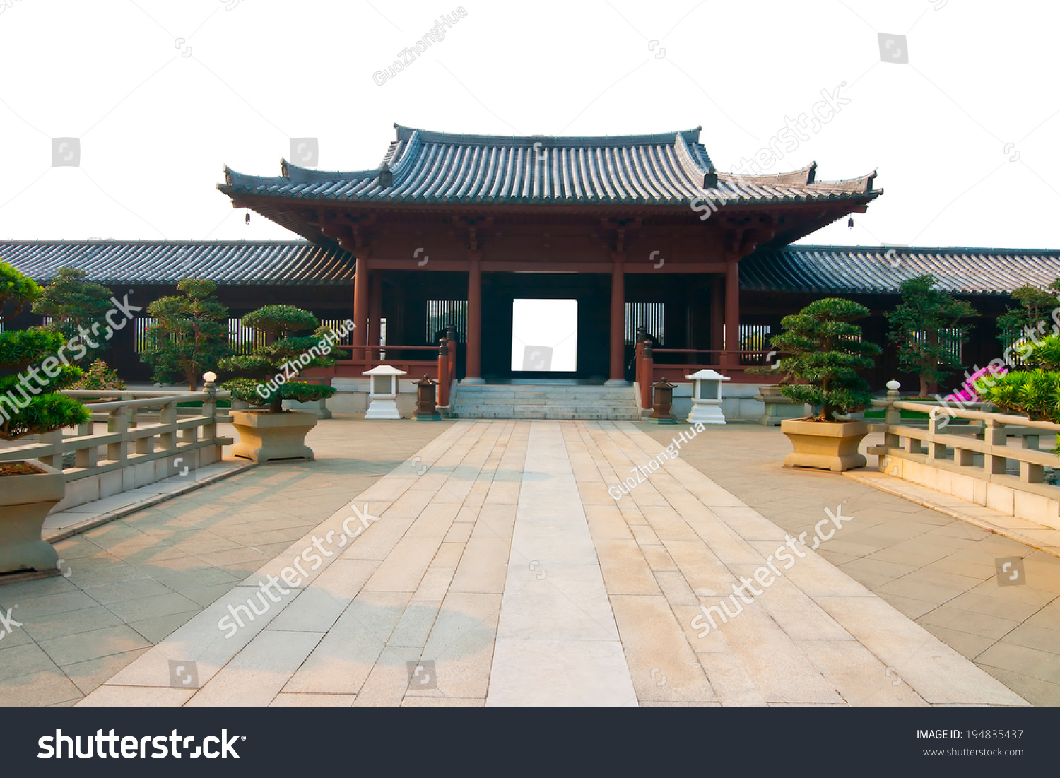 ancient chinese architecture on white background stock photo
