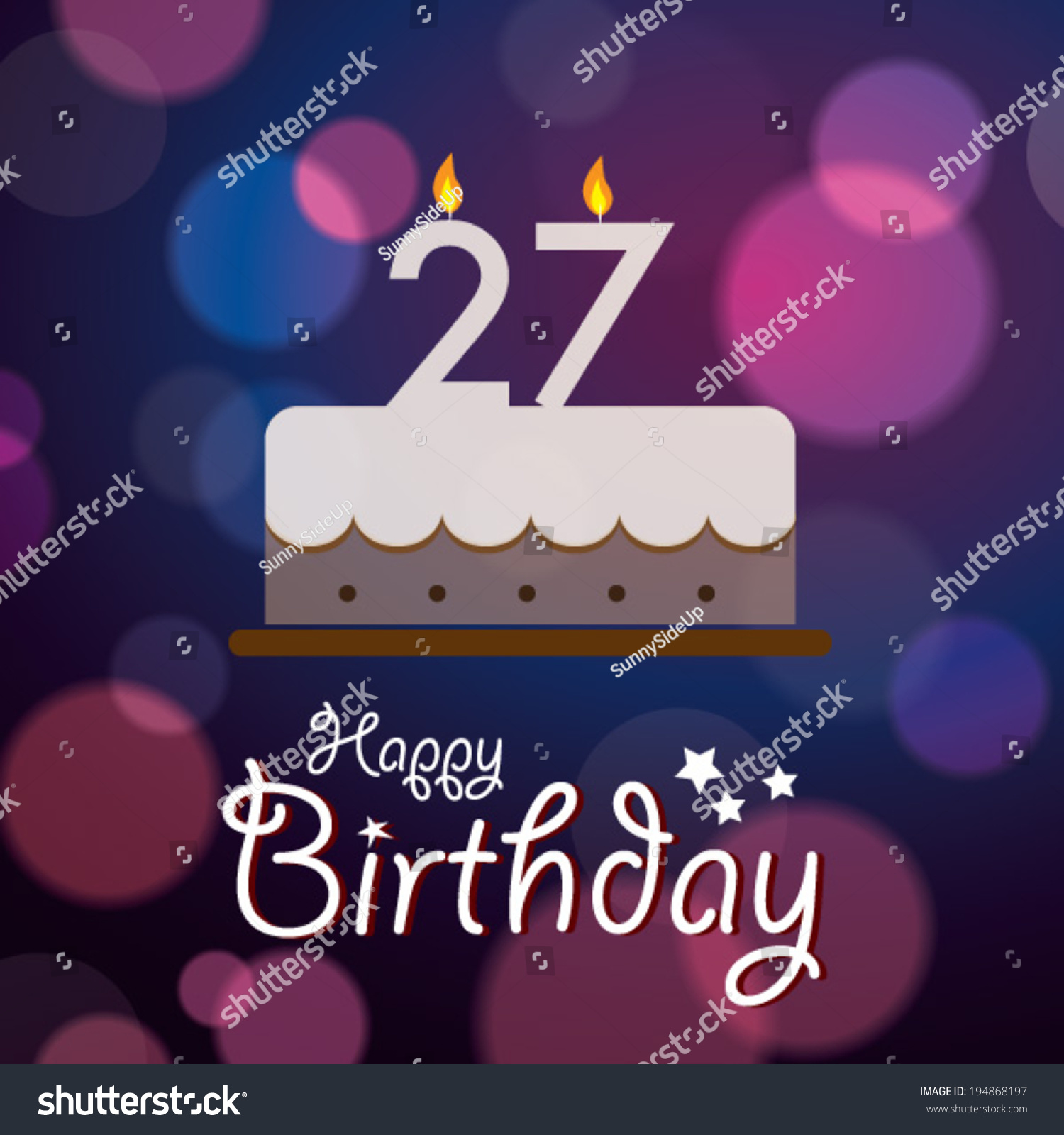 Happy 27th Birthday Bokeh Vector Background Stock Vector