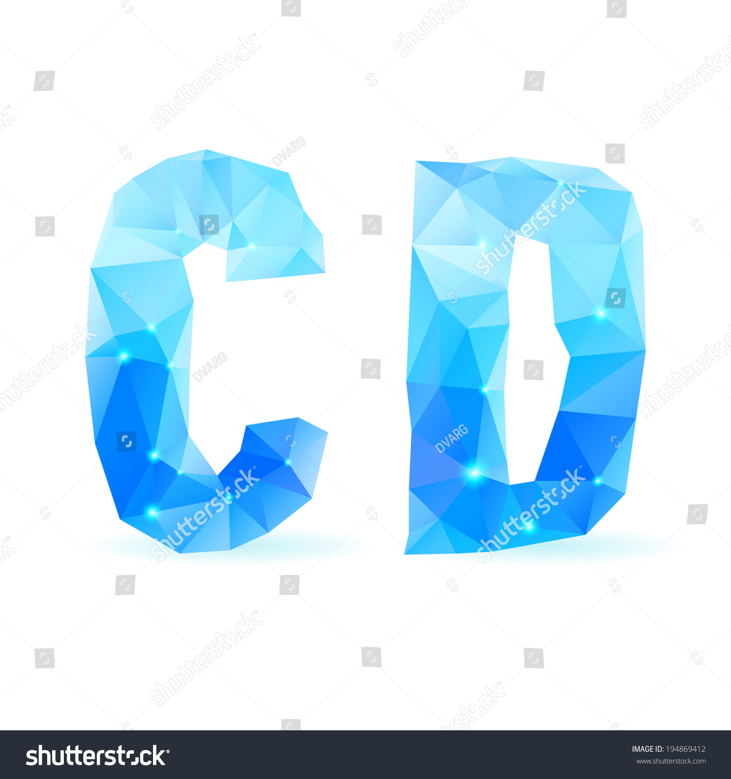 crystal style c and d letters