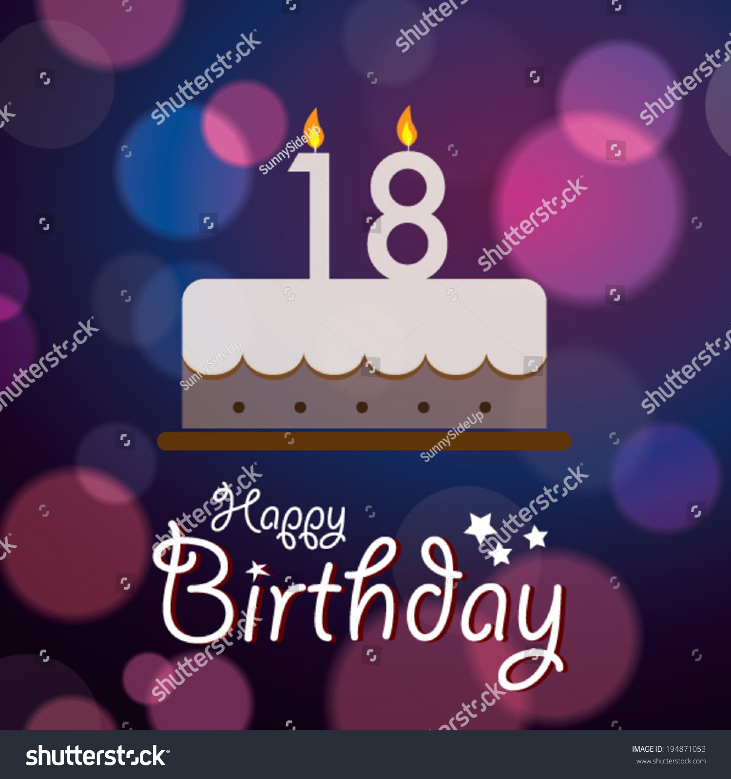 Happy 18th Birthday Bokeh Vector Background Stock Vector