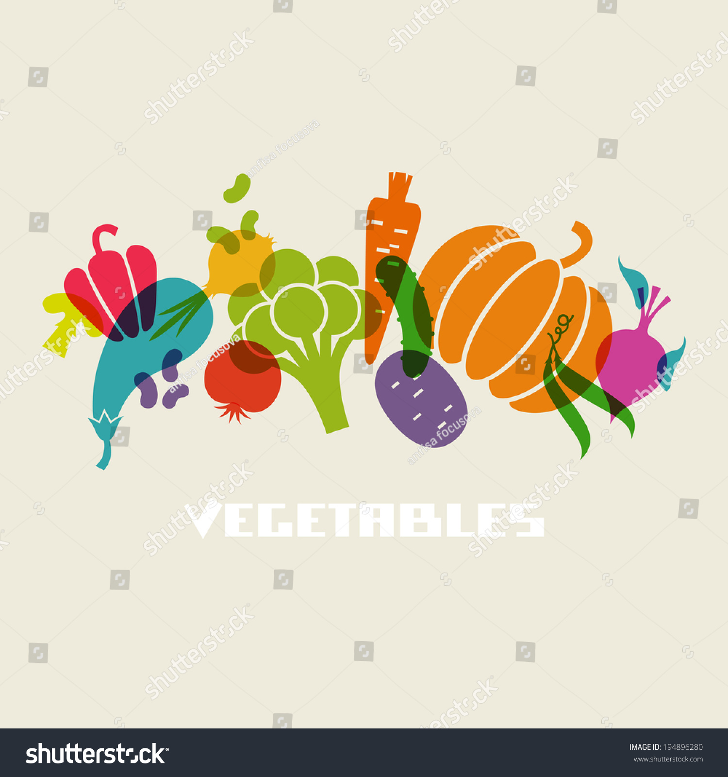 Vector Color Vegetables Icon Food Sign Stock Vector