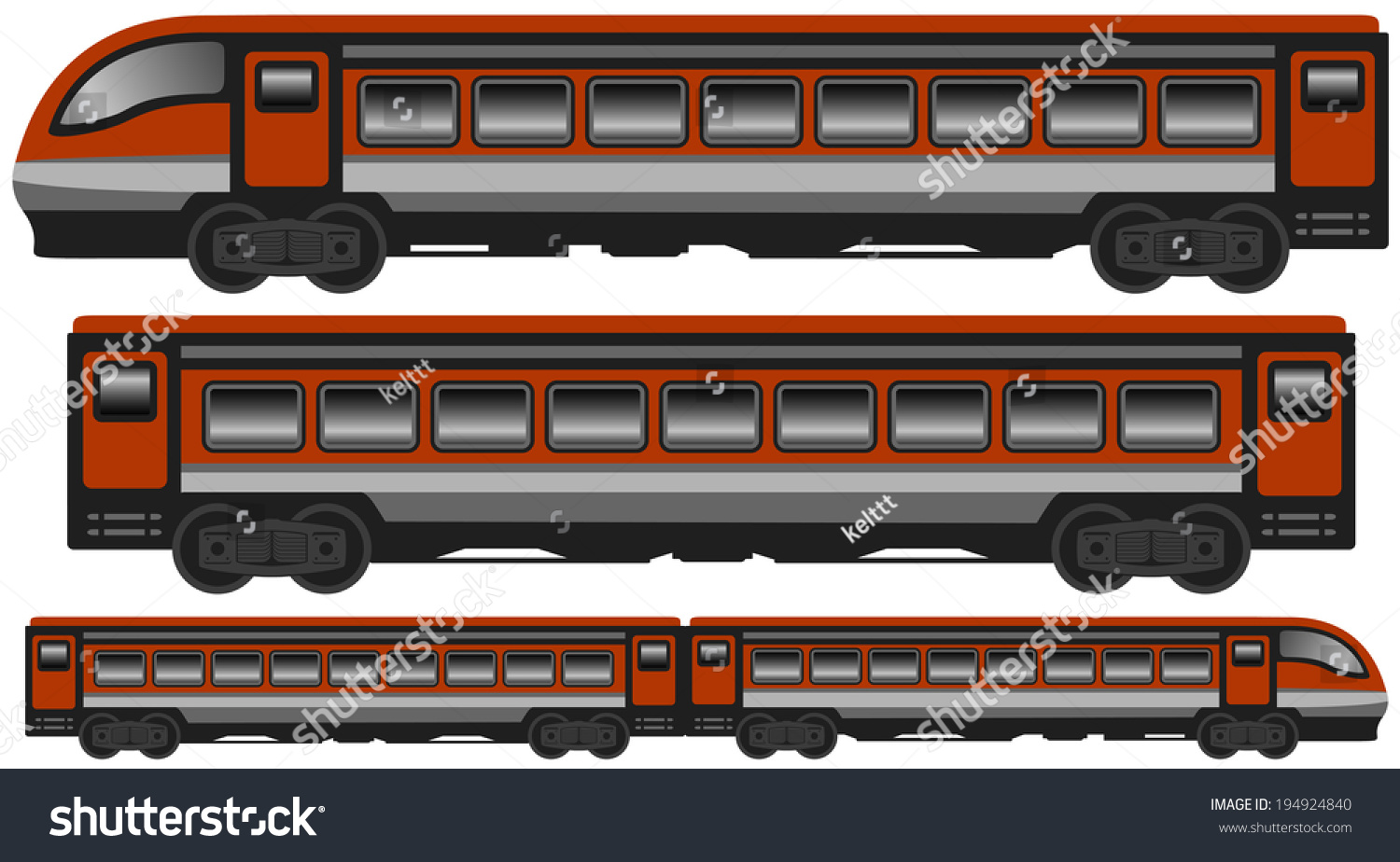 Set isolated modern train car carriage stock vector for Car carriage