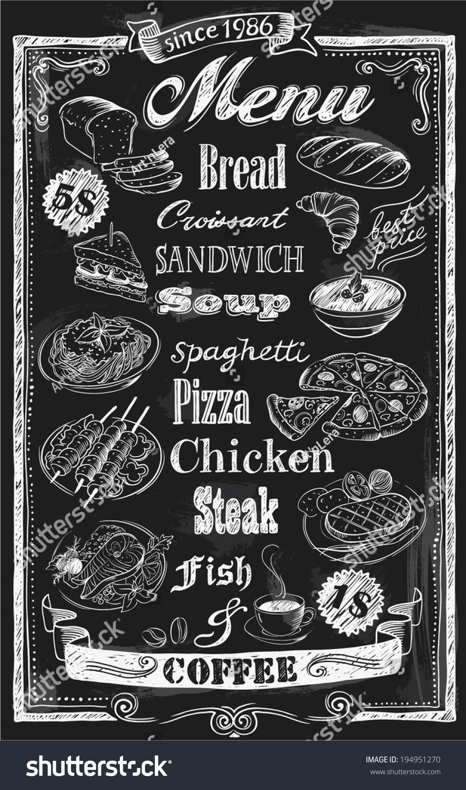Chalkboard Breakfast Menus For Restaurants