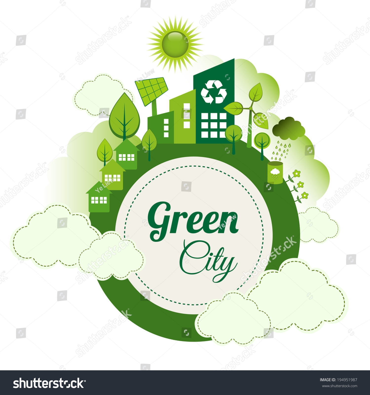 green eco city living concept stock vector illustration 194951987 shutterstock. Black Bedroom Furniture Sets. Home Design Ideas