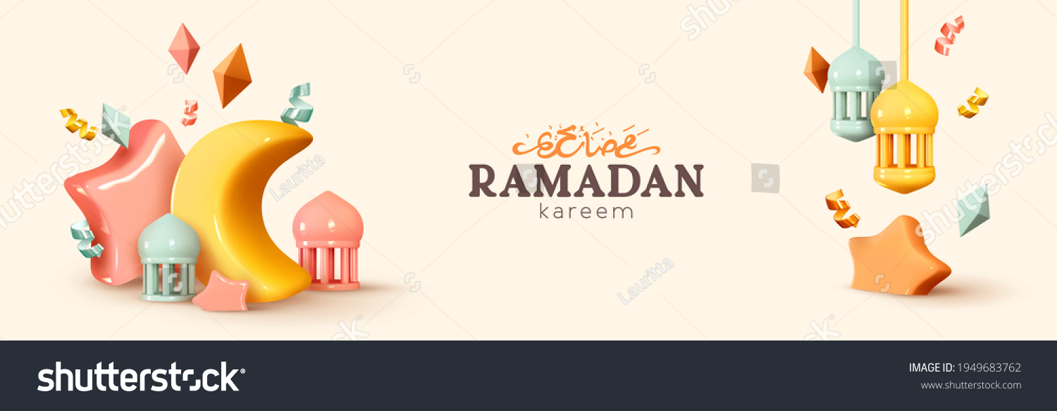 Ramadan Kareem horizontal banner, template header for website. Realistic 3d design. Traditional religious symbol crescent, hanging lanterns, gold confetti. Arabic Text Translation Ramadan Kareem #1949683762