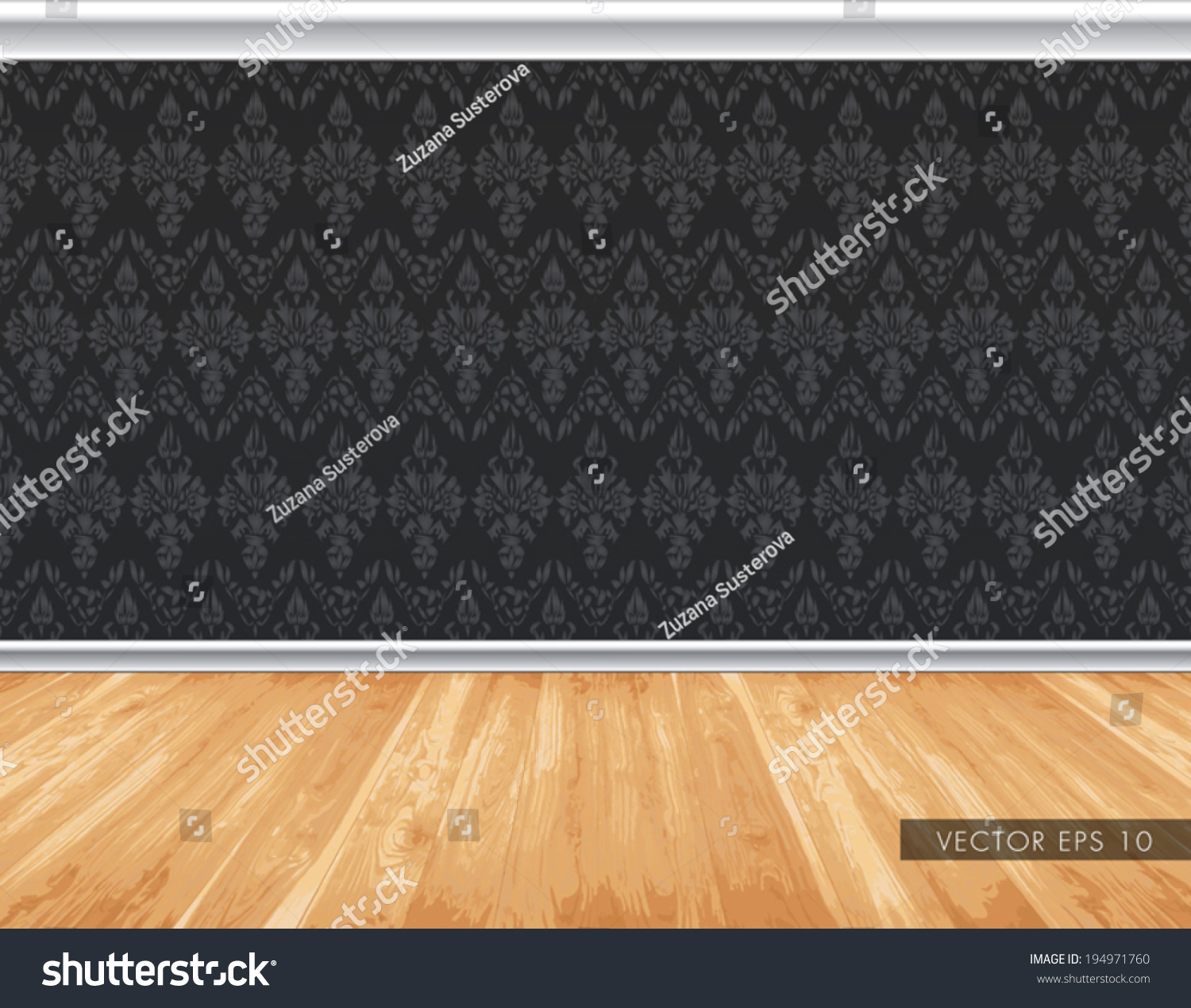 Dark Wallpaper Pattern Wall With Decorative White Moldings Natural Light Wooden Board Floor