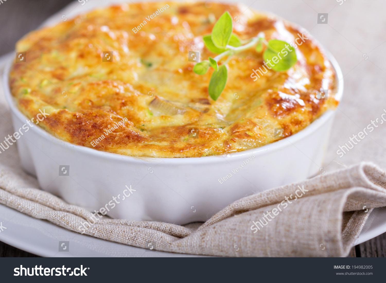 Zucchini Onion Bake Eggs Cheese Stock Photo 194982005