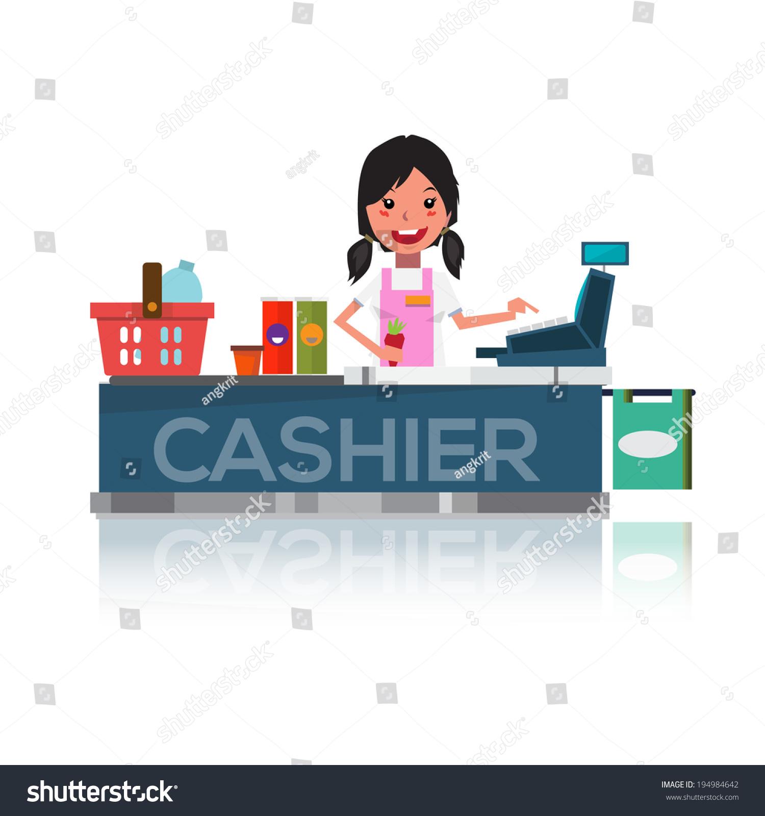Cashier Cartoons: Pretty Cashier Supermarket Vector Illustration Stock