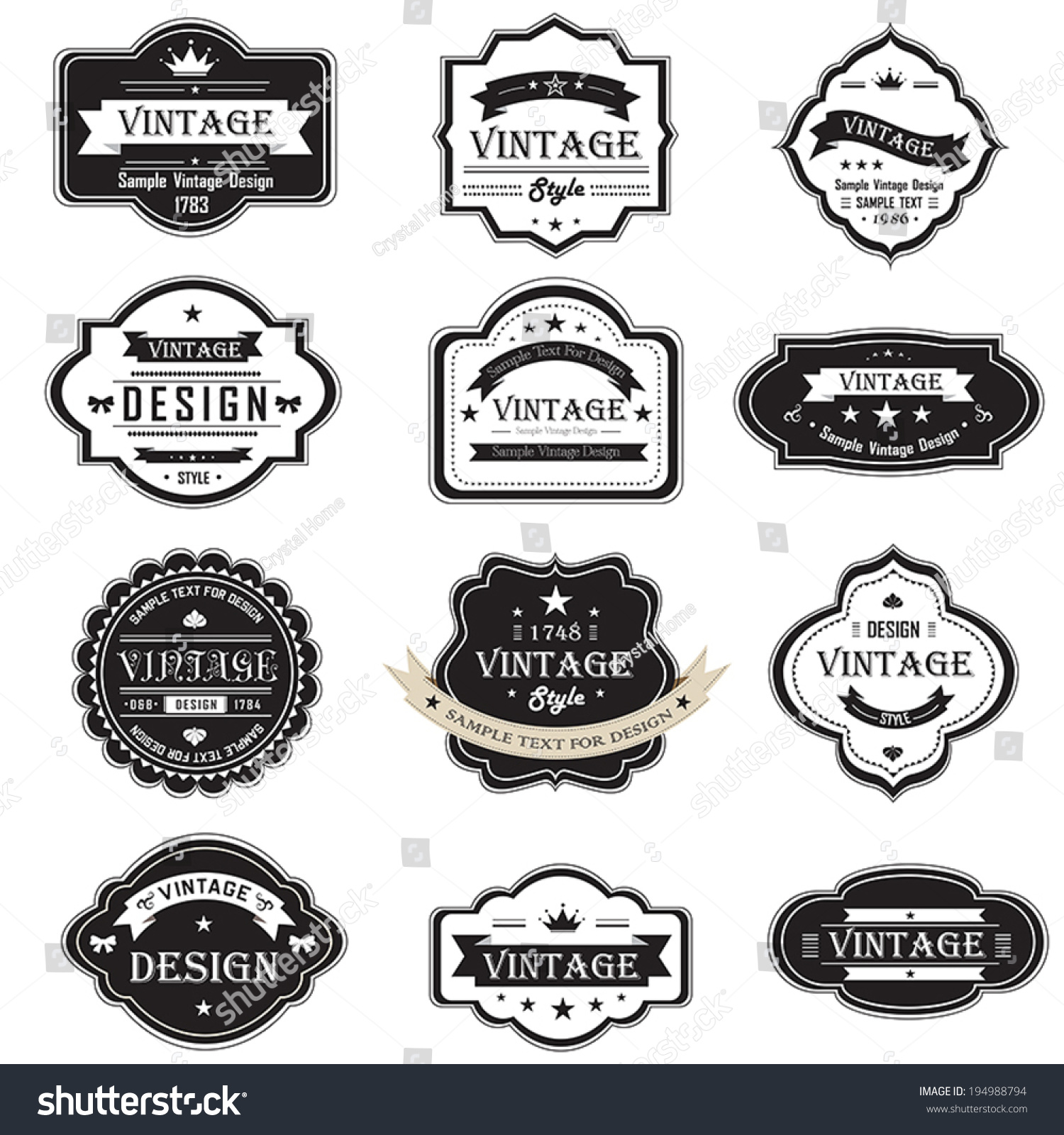 silhouette vintage retro badges label tag stock vector royalty free