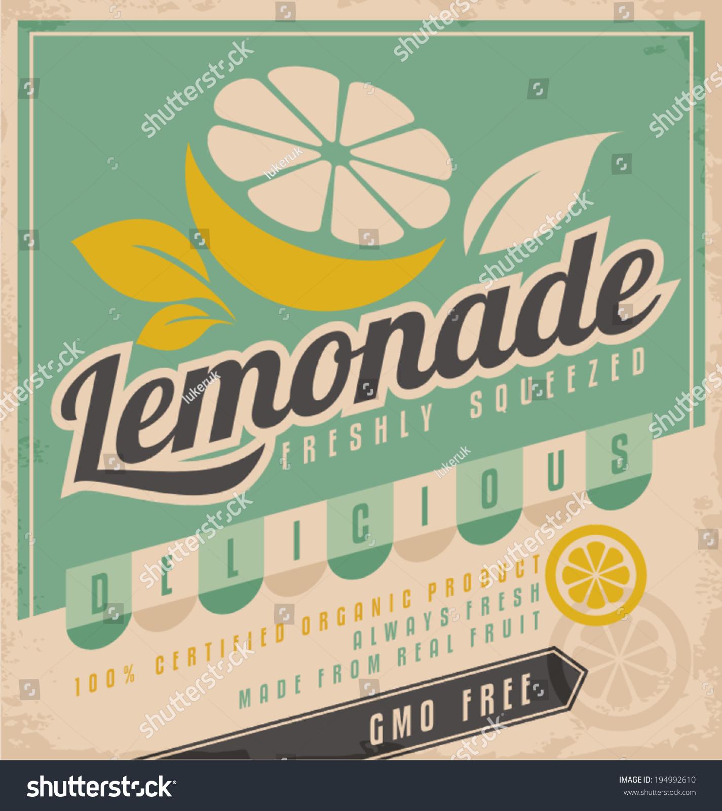 retro poster design ice cold lemonade stock vector (royalty free