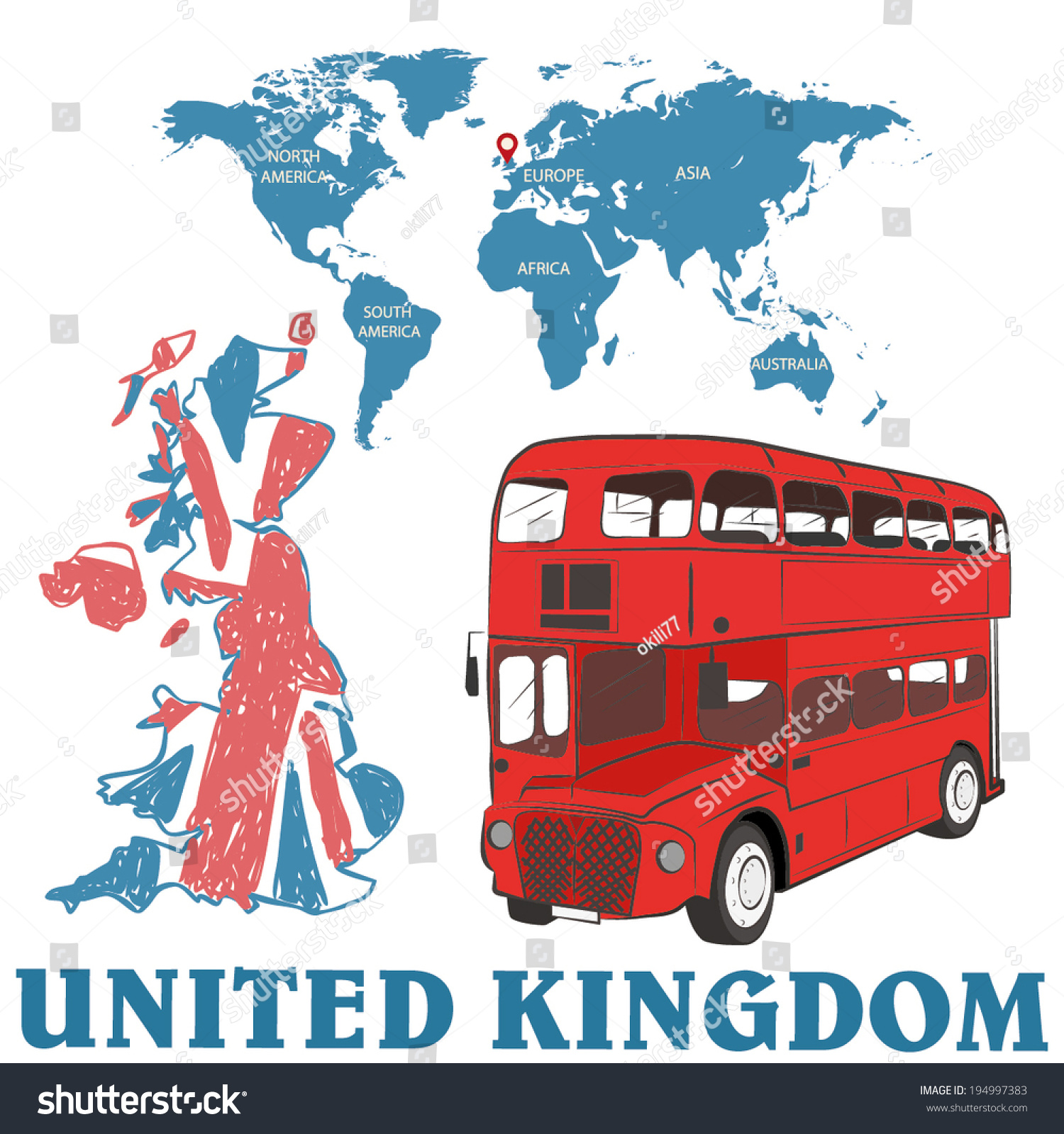 United Kingdom London Bus Map World Stock Vector - Map of north america and united kingdom