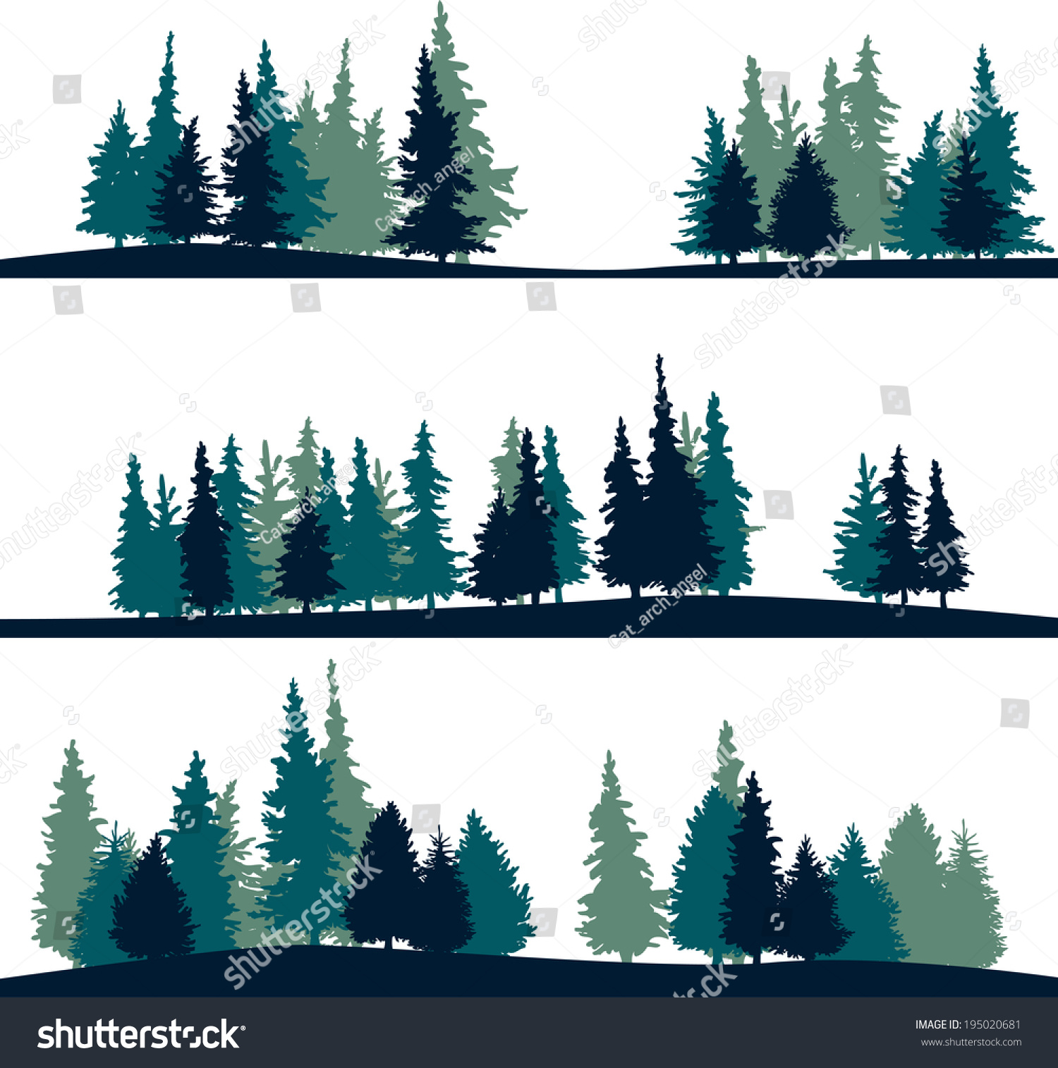Landscape Trees Vector : Landscape firtrees vector stock shutterstock