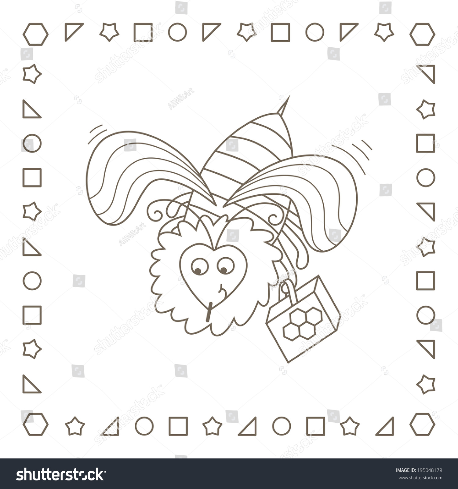 Funny Cartoon Bee Honey Coloring Page Stock Illustration 195048179 ...