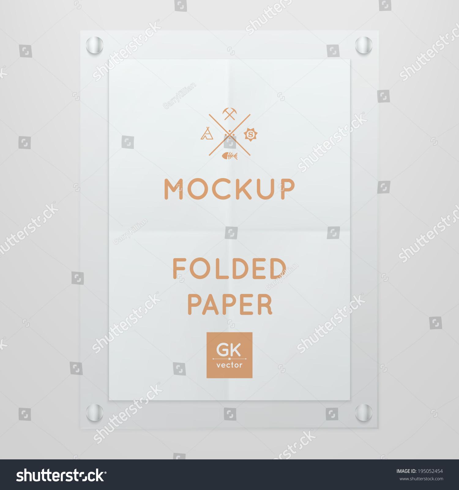 vector template folded poster glass frame stock vector