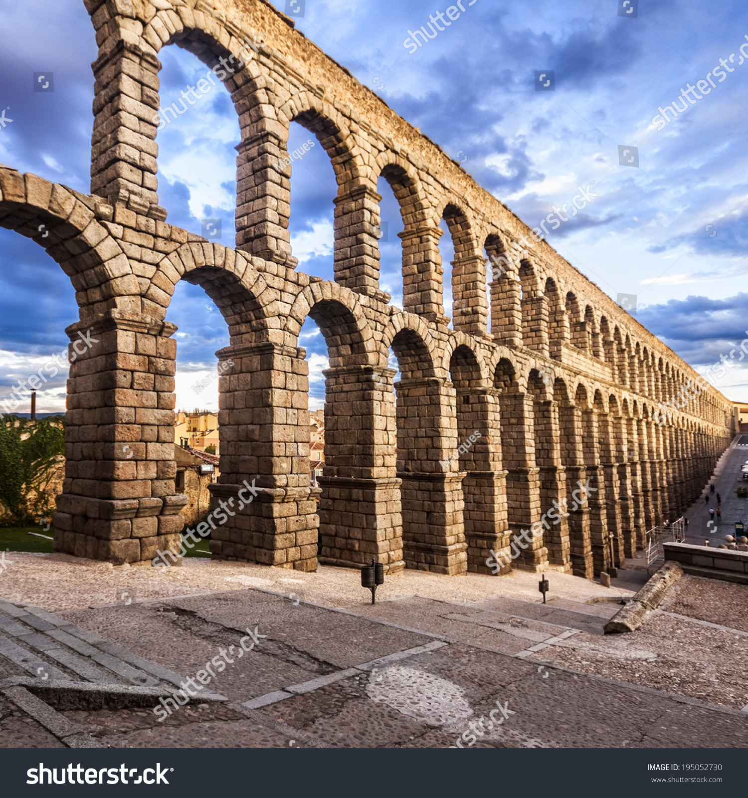 famous ancient aqueduct segovia sunset castilla stock photo