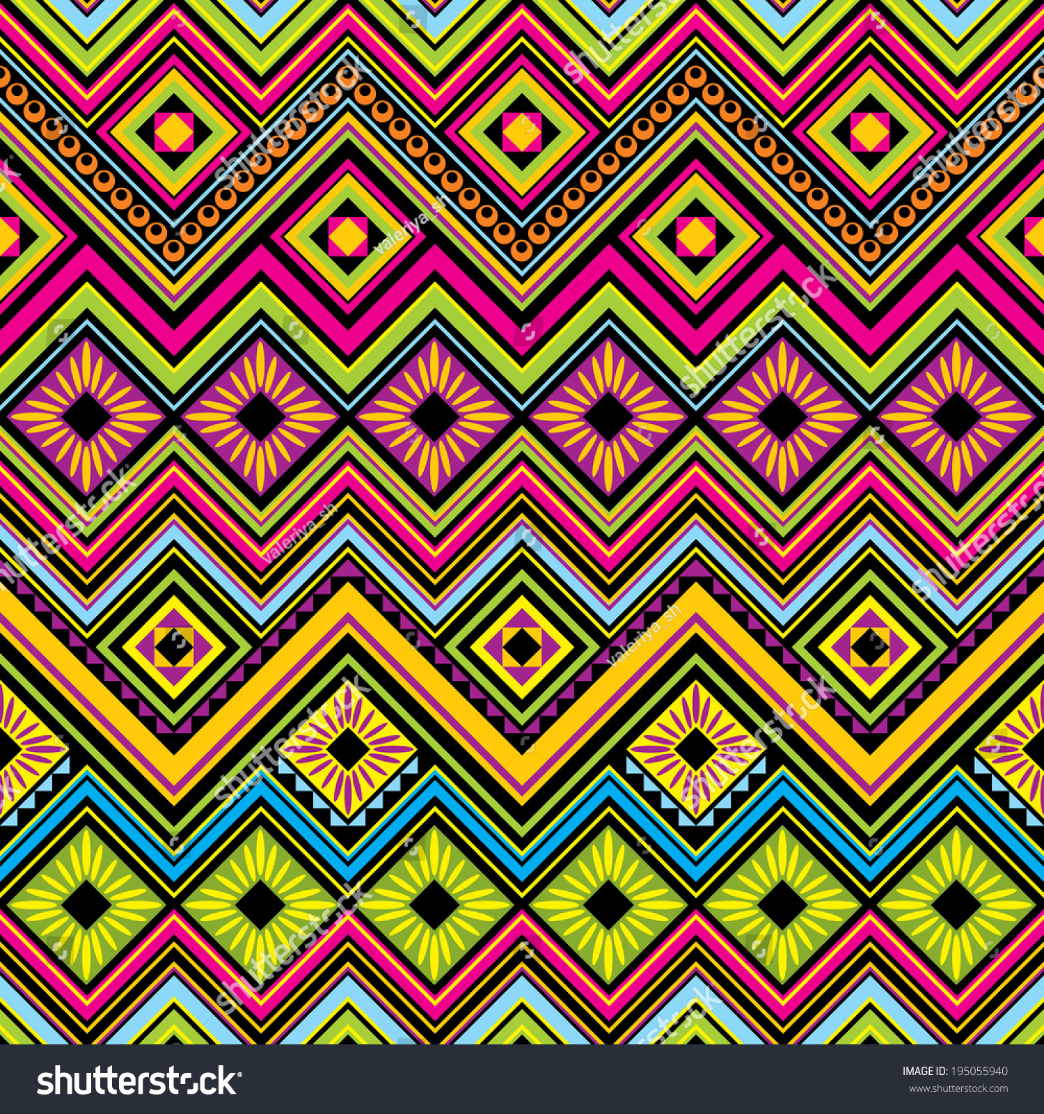 Background geometric mexican patterns seamless vector zigzag maya - Vector Seamless Background With Mexican Zigzag Geometric Patterns
