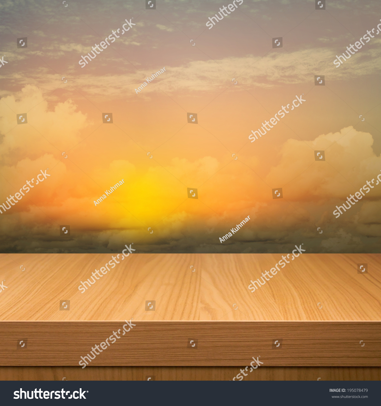 Empty Wooden Deck Table Over Sunset Stock Illustration - Royalty