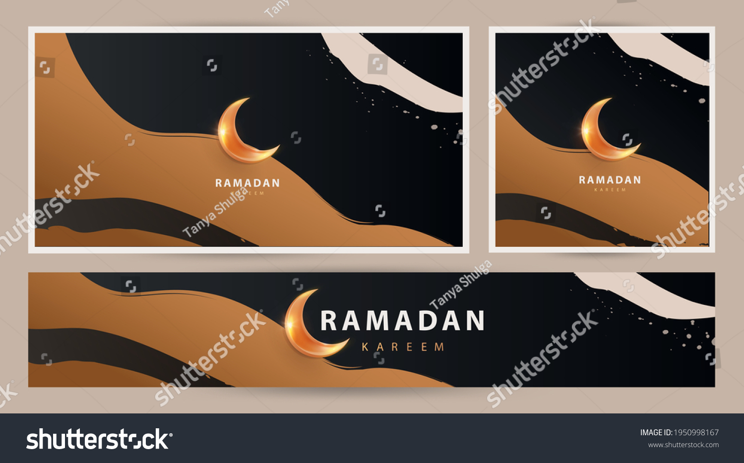 Ramadan Kareem modern luxury design Set in modern art style. Abstract art hand drawn  background with golden sand dunes and shining moon against the night sky. Poster, cover, card, header for website #1950998167