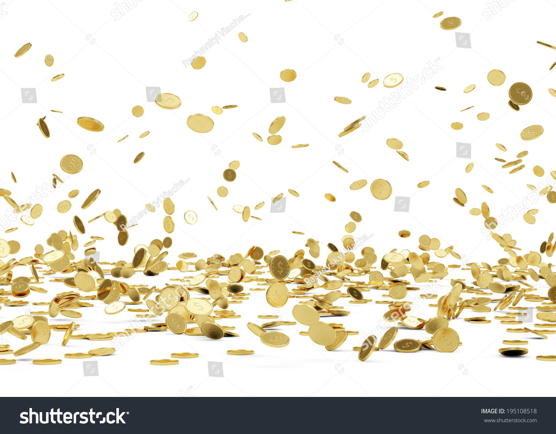 rain golden coins falling gold coins stock illustration