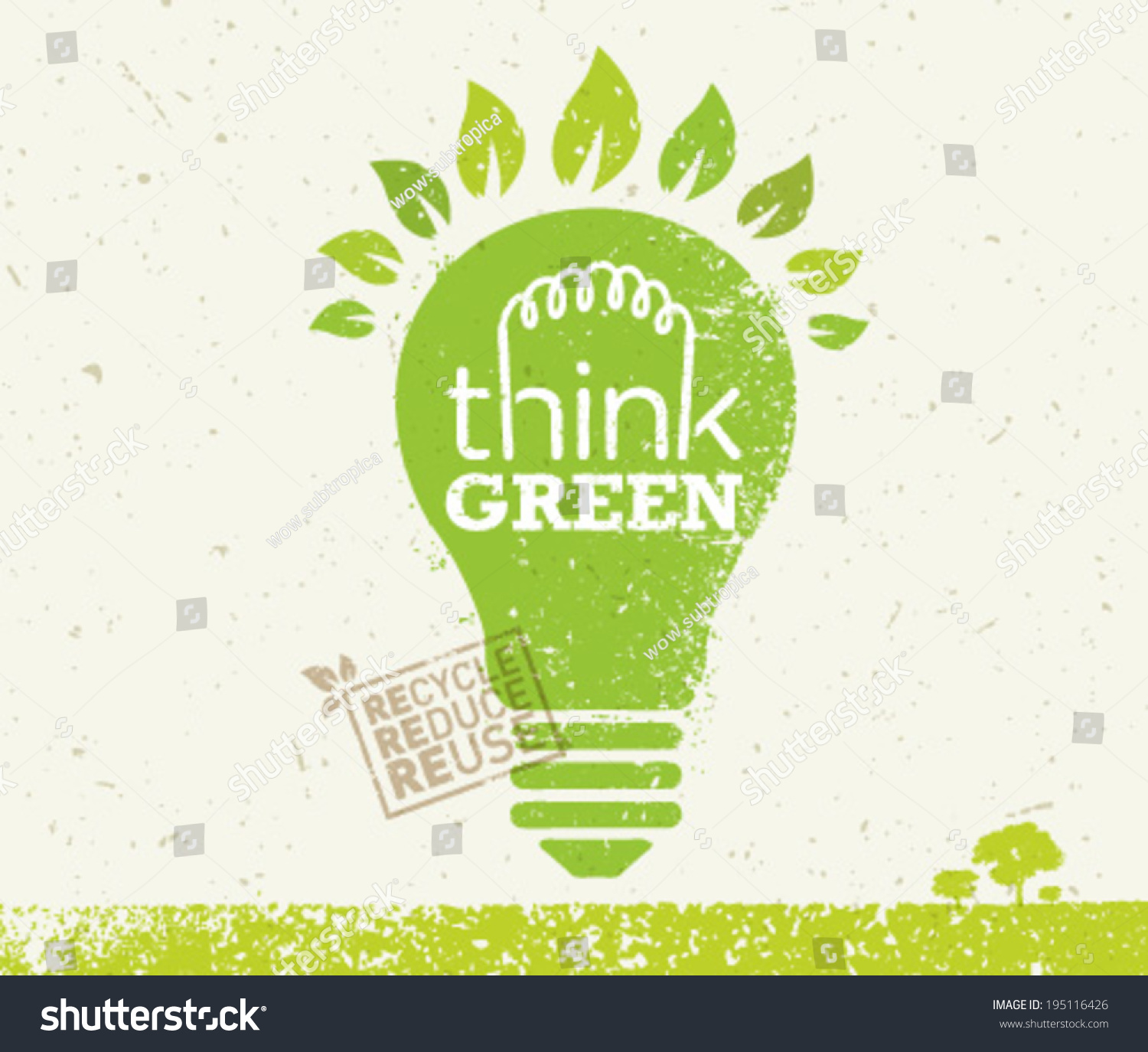 About paper s ecological footprint design and paper - Think Green Recycle Reduce Reuse Eco Stock Vector