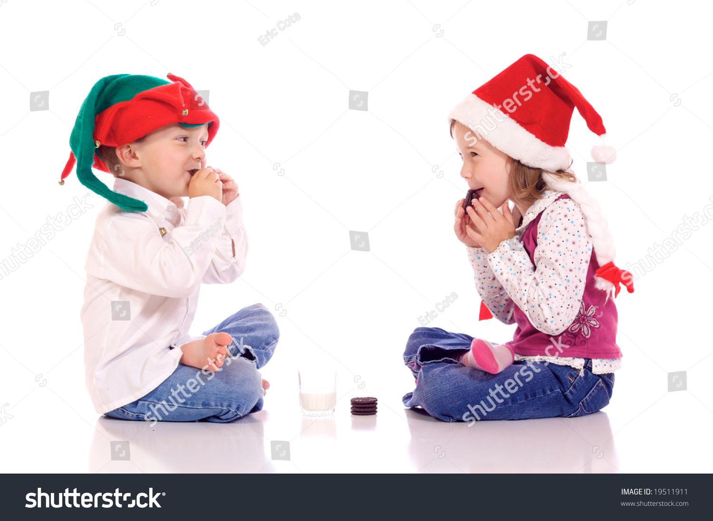 d96622875 Cute Little Children Christmas Hats Eating Stock Photo (Edit Now ...