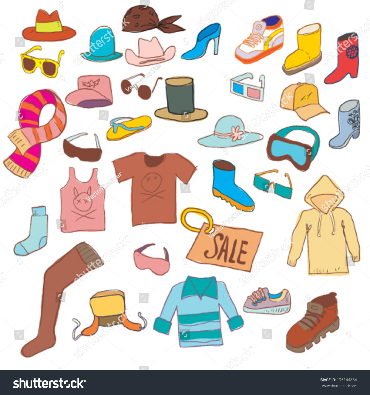 cartoon clothing accessories stuff doodle style stock vector