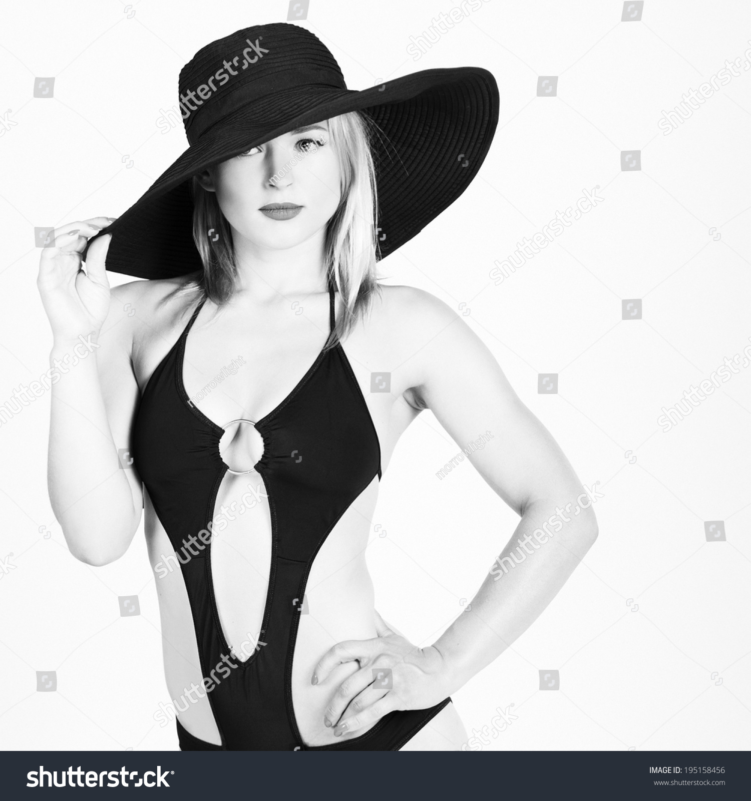 Black White Portrait Stylish Girl Wearing Stock Photo (Edit Now ... ac7e1941f819