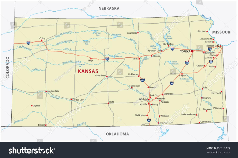 Kansas Road Map Stock Vector Shutterstock - Kansas road map
