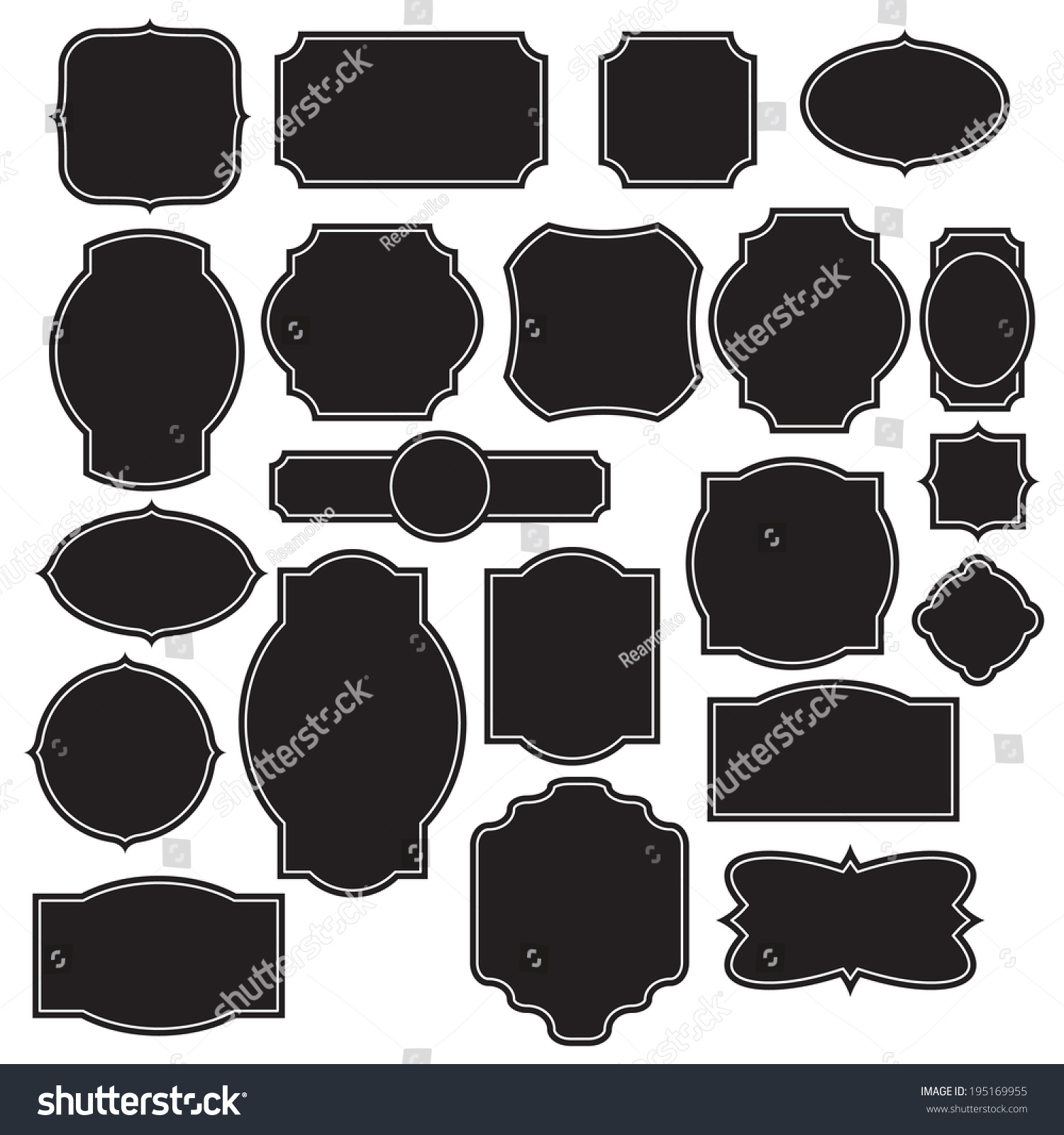 Set Labels Templates Stock Vector (Royalty Free) 195169955 ...