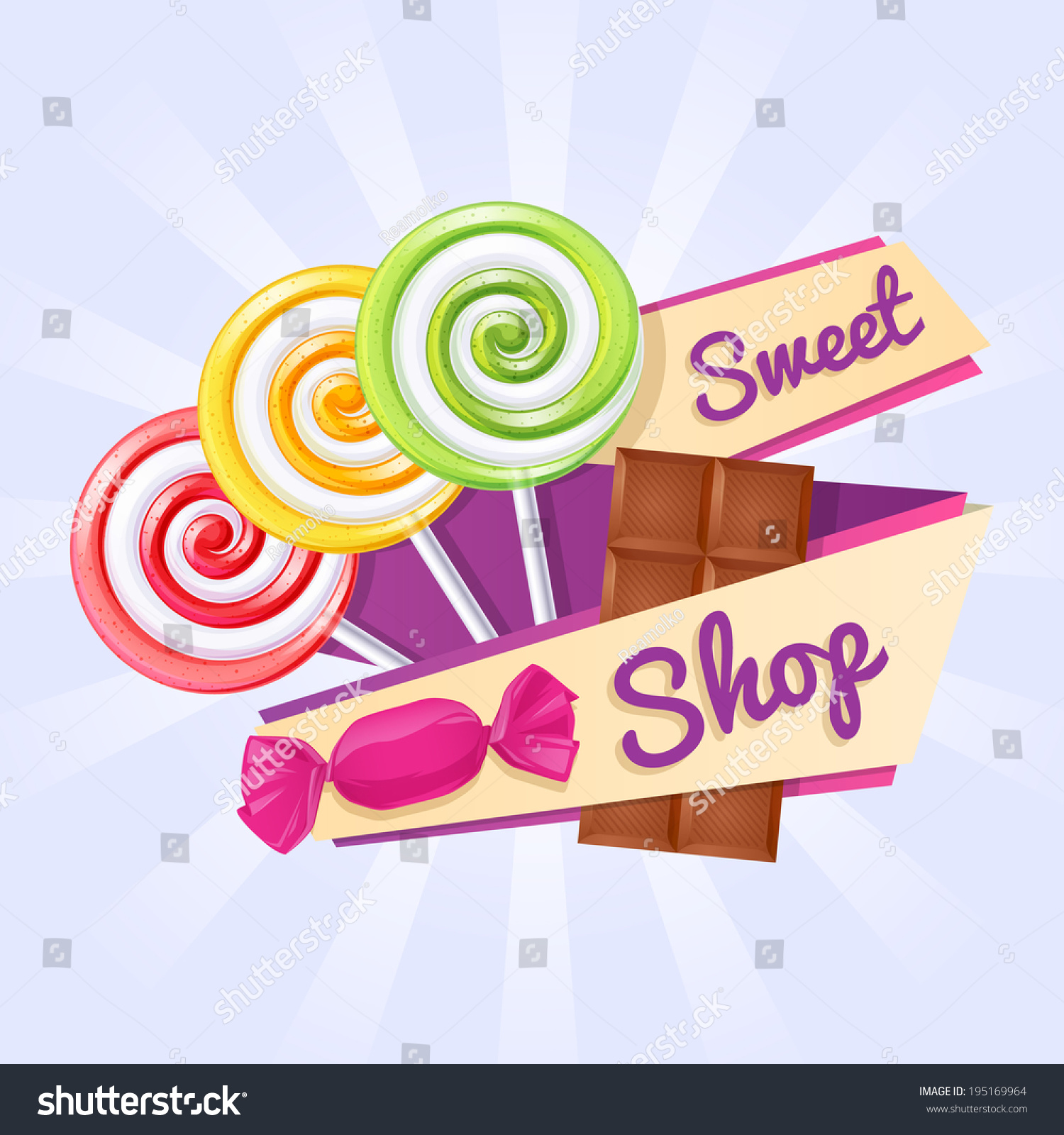 sweet shop poster background lollipops candy stock vector 195169964 shutterstock. Black Bedroom Furniture Sets. Home Design Ideas