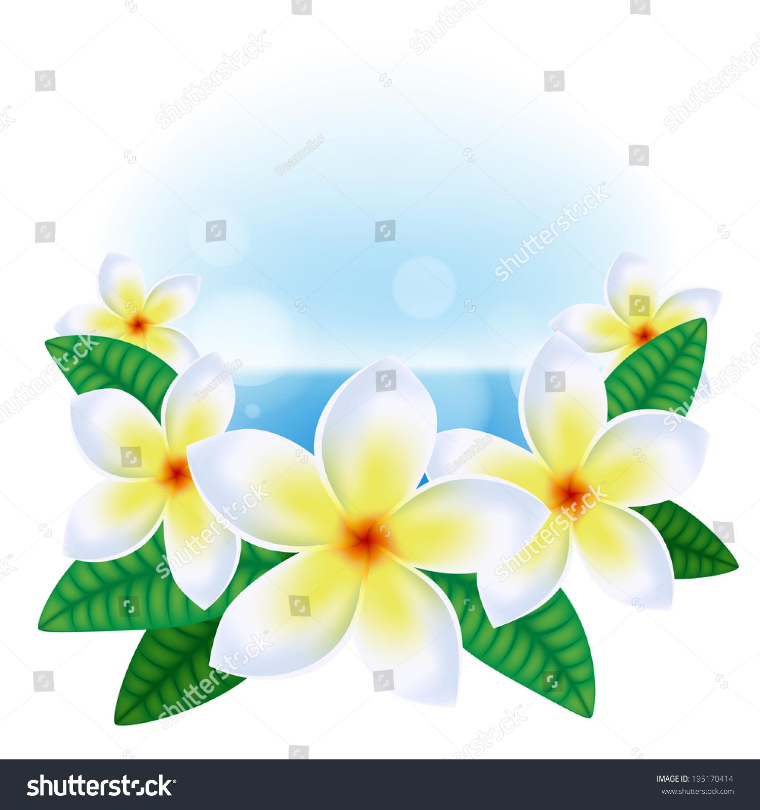 Summer background hawaiian plumeria flowers sea stock vector summer background with hawaiian plumeria flowers and sea izmirmasajfo