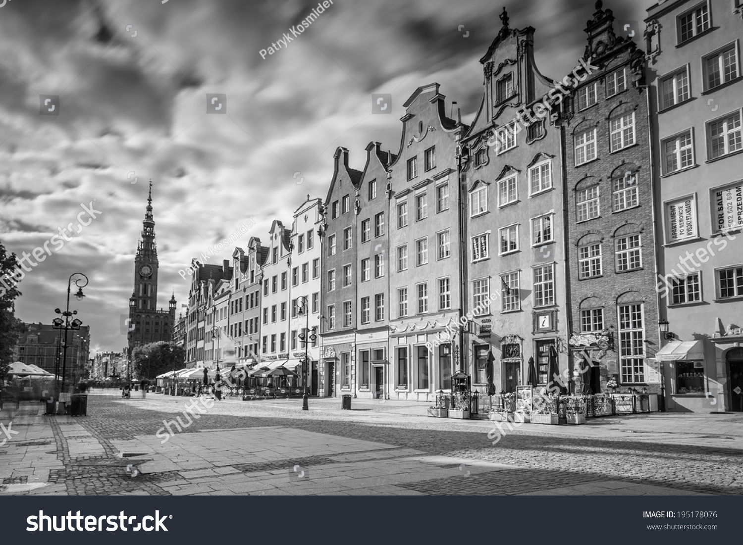 Gdansk poland 13 may the long lane street in black and white