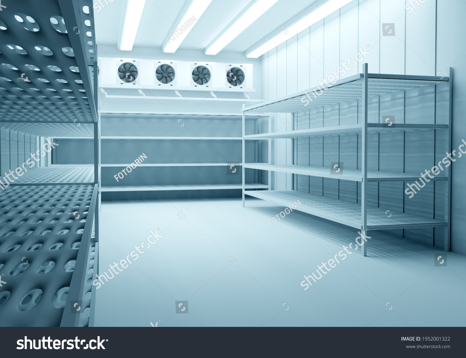 Refrigeration Chamber for Food Storage. Metal Shelves and Racks for String Frozen Foods. Food Freezing Shop. Selective Storage System. Cold Warehouse. Air conditioning on a warehouse wall. #1952001322