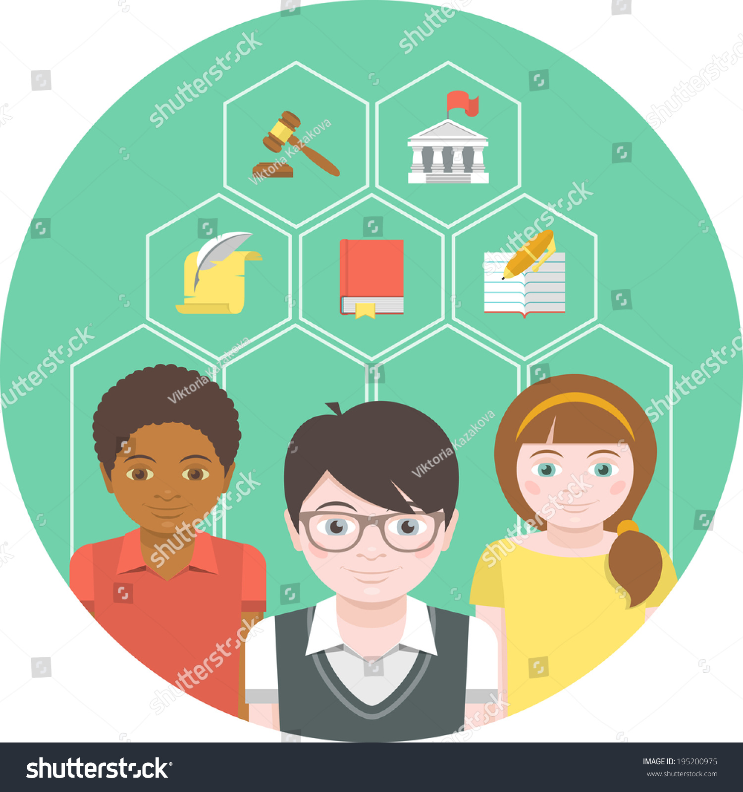 Conceptual Illustration Children Different Symbols Humanities Stock
