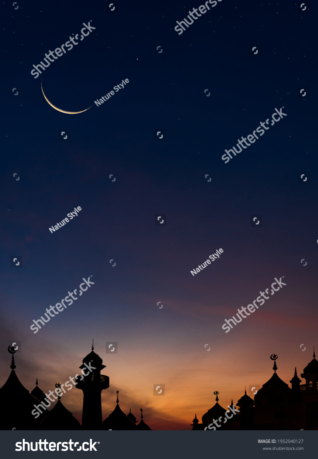 Mosques Dome on dark blue twilight sky and Crescent Moon on background Vertical, symbol islamic religion Ramadan and free space for text arabic, Eid al-Adha, Eid al-fitr, New Years Muharram  #1952040127