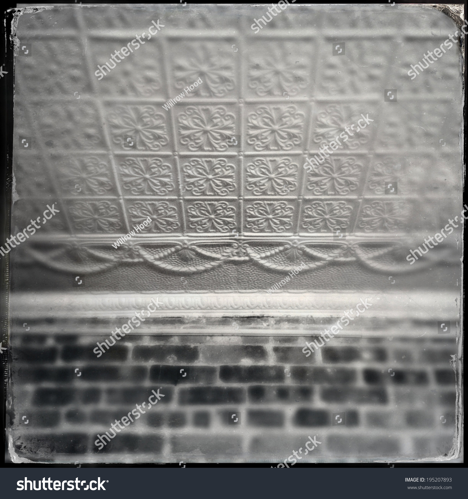 Instagram style image old tin ceiling stock photo 195207893 instagram style image of an old tin ceiling tiles and brick wall dailygadgetfo Gallery