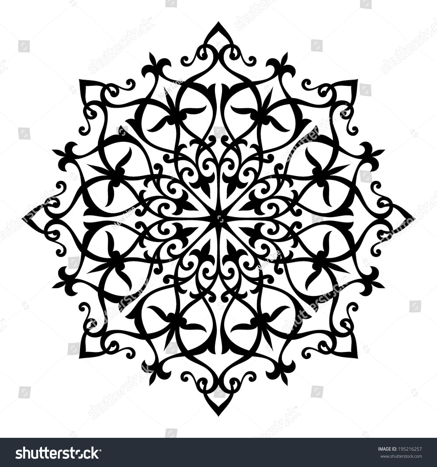 Arabesque Decor Mandala Vector Illustration Stock Vector 195216257