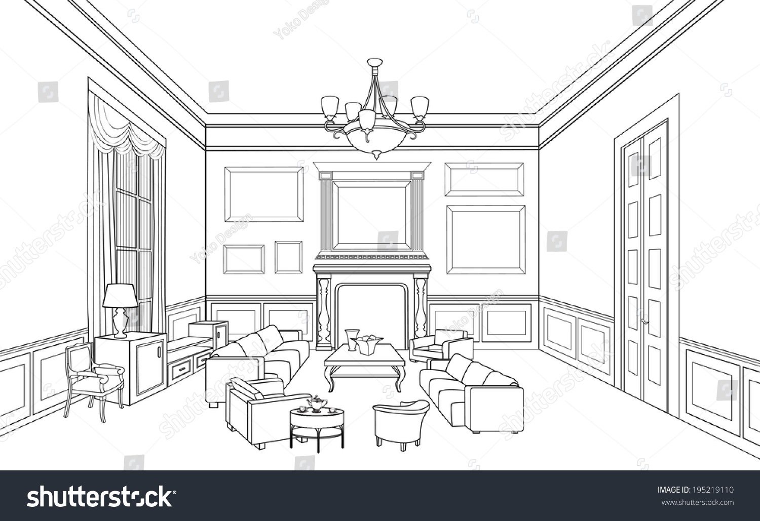Drawingroom editable vector illustration outline sketch for Interior design images vector