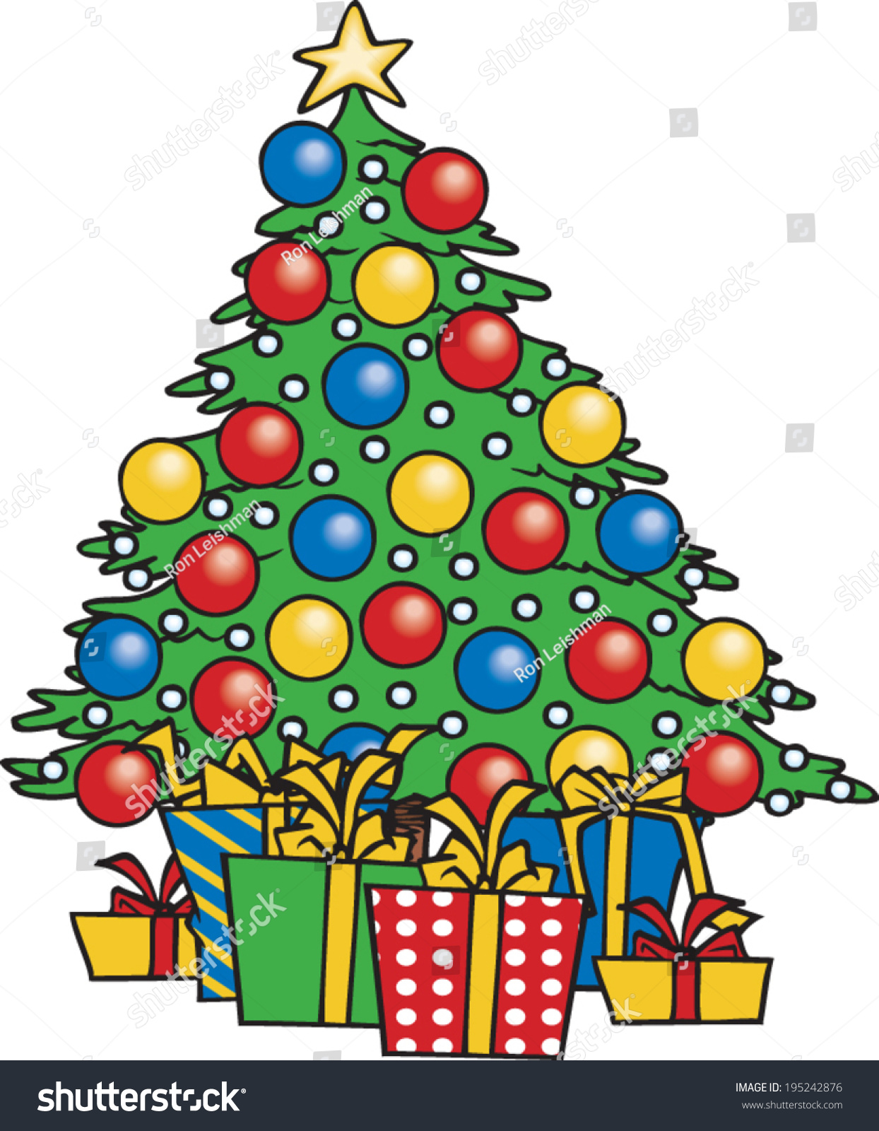 Cartoon Christmas Tree Gifts Underneath Stock Vector 195242876 ...